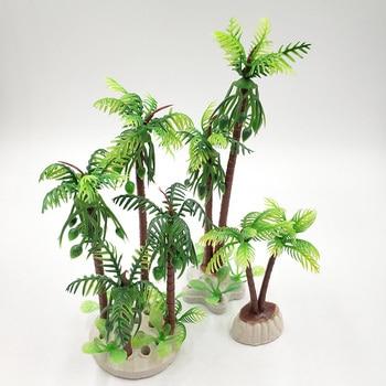 Artificial Tropical Green Tree Ornament for Aquarium