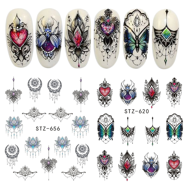 Full Beauty 1pcs Gorgeous Necklace Black Red Blue Sticker Nail Art Tattoos Water Nails Designs for Nail Sticker
