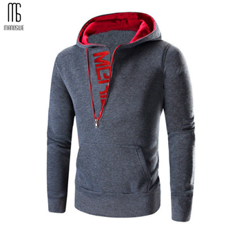 Zipper Hooded Pullover for Men Long Slee...
