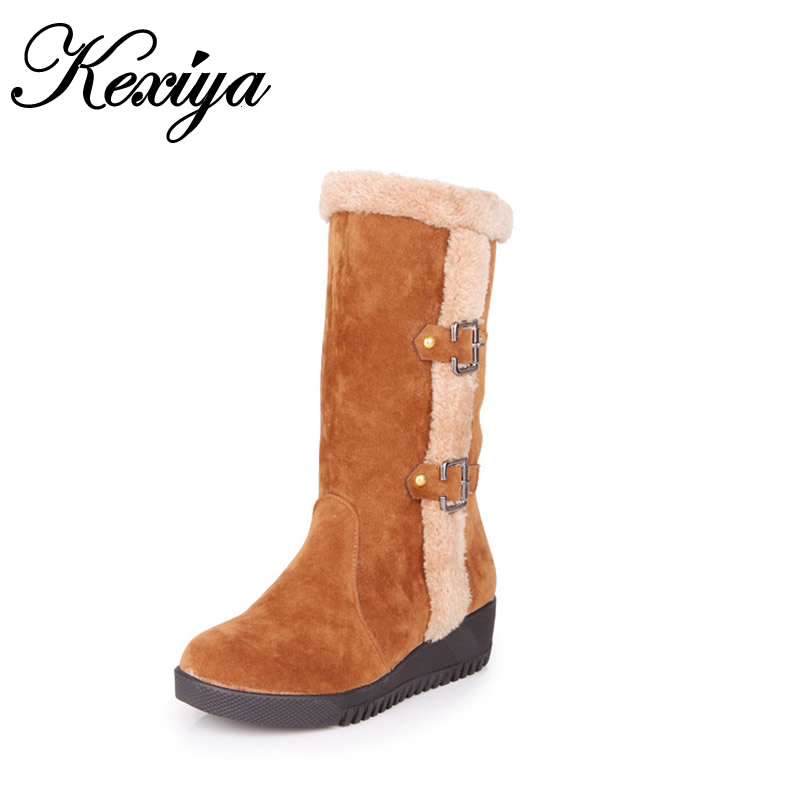 2016 Big size 30-52 winter warm women shoes fashion Round Toe low heel Slip-On Mid-Calf boots Buckle decoration snow boots T-18 eiswelt women mid calf boots winter snow boots warm round toe flat shoes female fashion lace up boots plus size zqs182 page 8