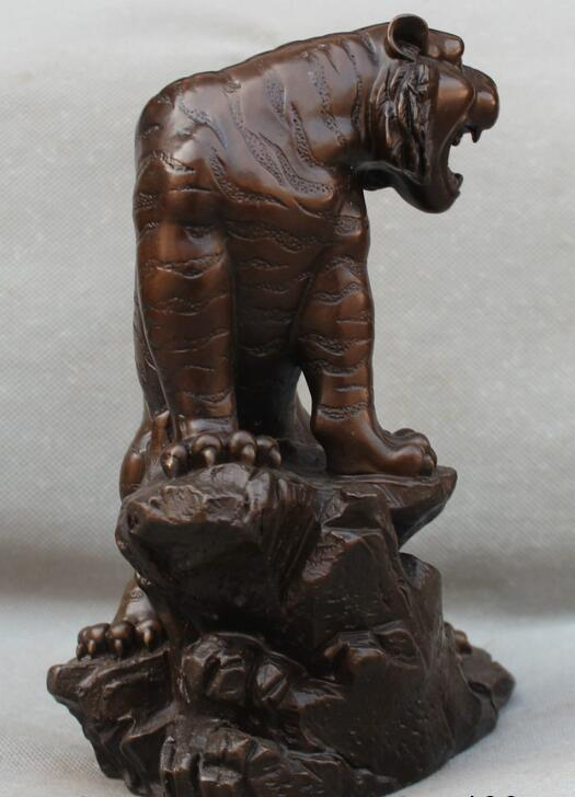 S0870 Lucky China Chinese Fengshui Bronze Up The Mountains Year Zodiac Tiger Statue statue poseidon statue statue of liberty usa - title=