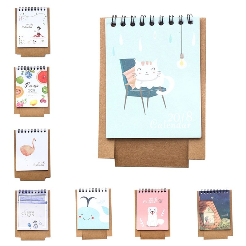 Office & School Supplies Collection Here 2018 Year New Kawaii Cartoon Calendar 12.5*9.5cm Creative Desk Standing Paper Multifunction Organizer Schedule Planner Notebook Relieving Rheumatism And Cold