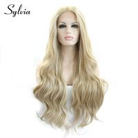 sylvia blonde/white mixed color loose wave synthetic lace front wigs natural blonde resistant fiber hair for white woman