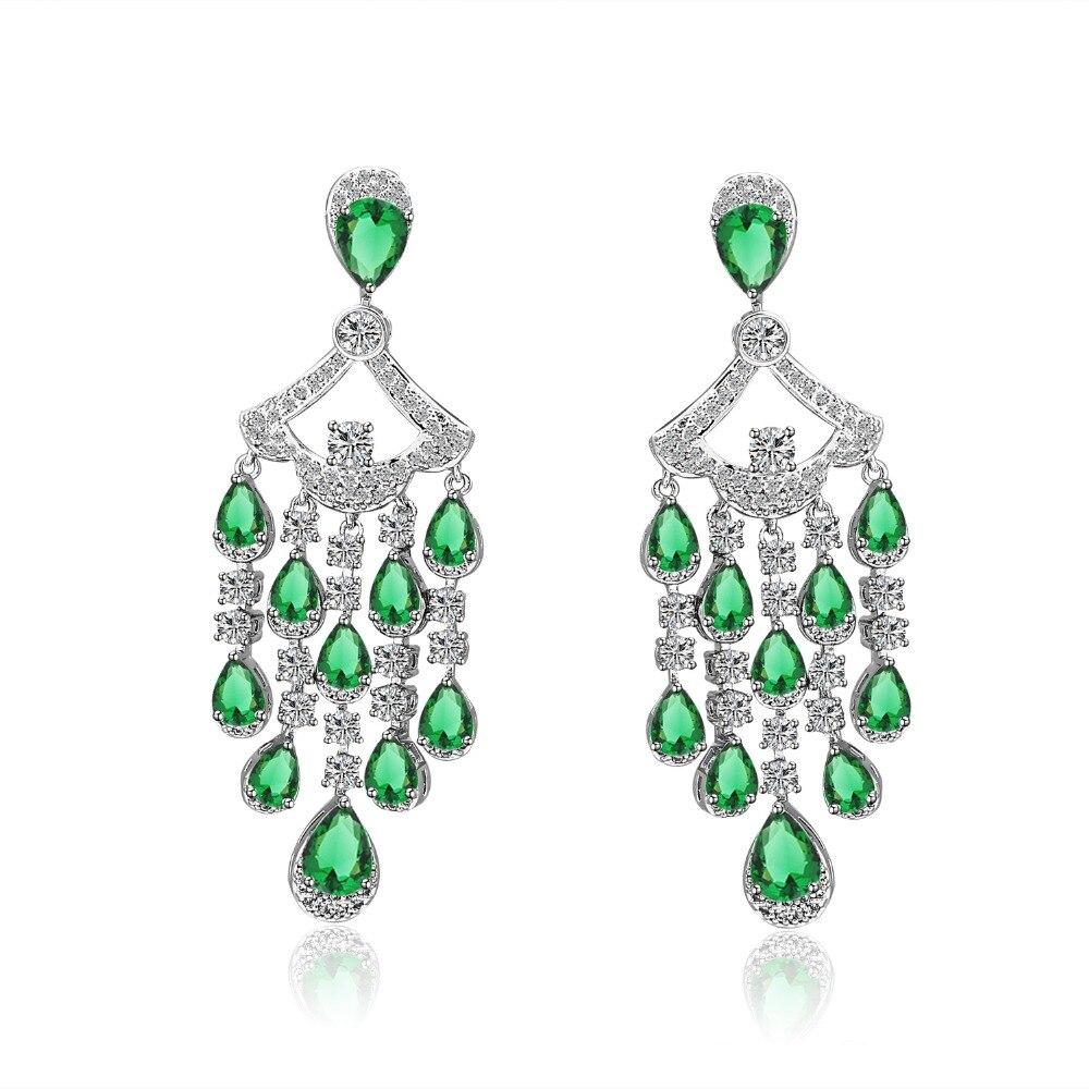 2 Colors Fashion Trendy Luxury Women Rhodium Plated Shinning Clear The Wet Brush Gemstone Abalone Cubic Zirconia Stone Bridal Long Drop Earrings Hf10433 Charm