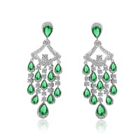 2 colors Fashion Trendy Luxury Women Rhodium Plated Shinning Clear Cubic Zirconia stone Bridal long drop Earrings HF10433 charm