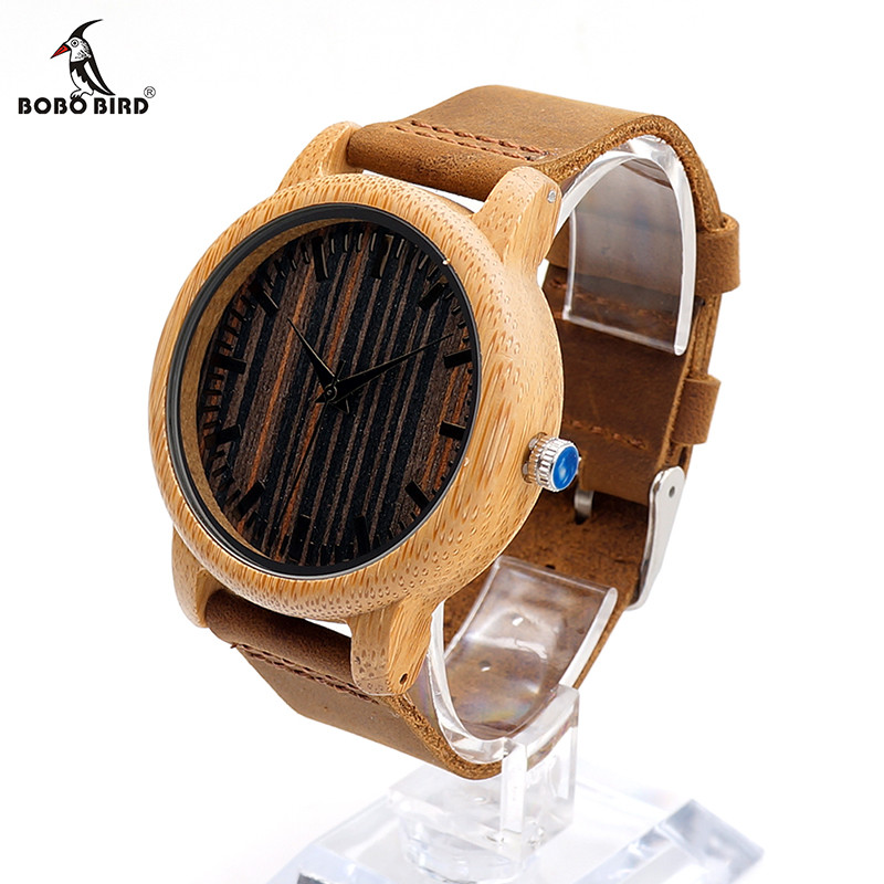 BOBO BIRD Mens Handmade Leather Strap Wooden Watches 13