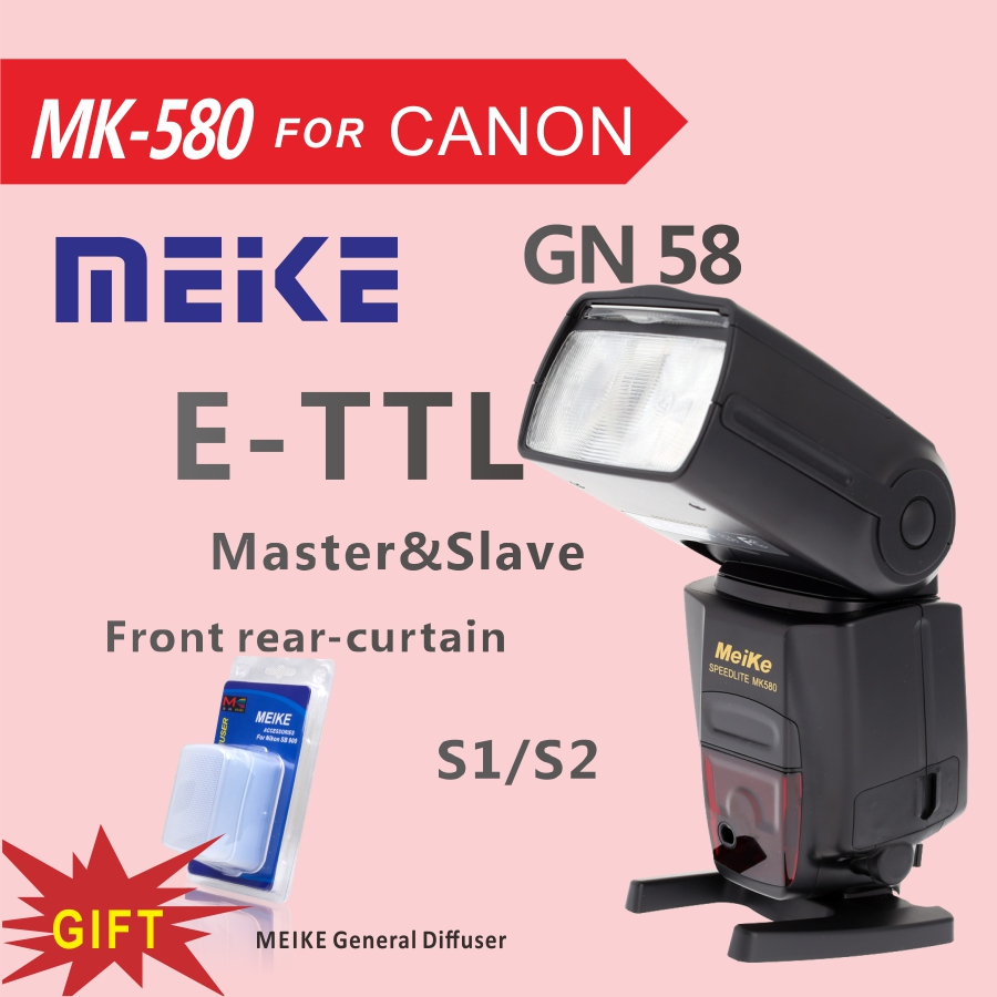 Майке mk580 TTL Камера Вспышка Speedlite для Canon 580 EXII EOS 5D Mark II III 6D 7D 60D 600D 700D 760d 5d4 + Диффузор