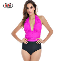 NAKIAEOI One Piece Swimsuit Plus Size Swimwear Women 2017 High Waisted Bathing Suits Beachwear Backless Halter