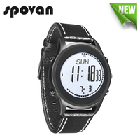 SPOVAN 70g Ultra Thin Sport Business Watch For Men Genuine Leather Watchband Carbon Fiber Dial Altimeter
