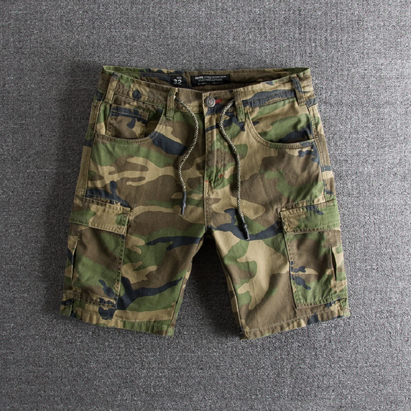 Military Camouflage Shorts Men Many Pockets Army Cargo Shorts Summer Casual Loose Cotton Camo Tactical Shorts 29-36
