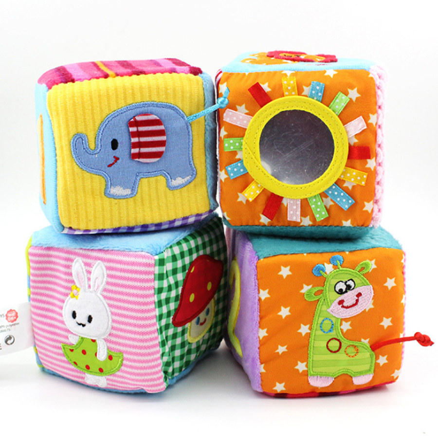 4pcs/set Baby Toys 0-12 Months Play Cubes Plush Cloth Building Blocks Soft Rattles Number Letters Multifunctional Toys Juguete