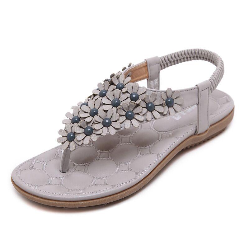 370dcc3e4e0df SIKETU Gray pink flowers women sandals New Flip-flop Flats sandals flip women s  sandals flats bohemia flower soft outsole shoes