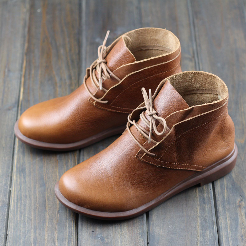 Women Boots Genuine Leather Woman Ankle Boots Flat Round toe Lace up Ladies Shoes Female Sping/Autumn Footwear (0389-2) 2017 xiangban women ankle boots handmade genuine leather woman short boots spring autumn round toe female footwear