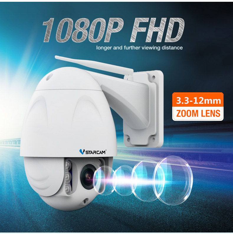 C34S-X4 VStarcam 1080 P Full HD Câmera IP com nível IP65 à prova d' água, H.264 CMOS 2.0MP, 30 m IR distan