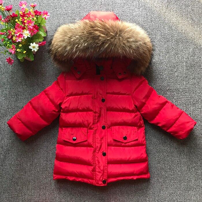Children girl boy winter jacket real fur hooded long coat parka kids 90 white duck down overcoat Russia winter clothing