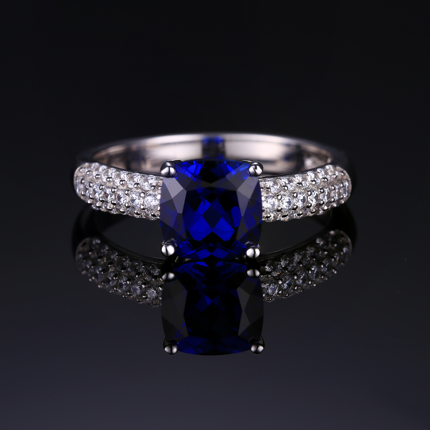 shop ctw metal floor set sapphire ring white emitter tapered round aqua stone solitaire render blue gold in engagement bezel light