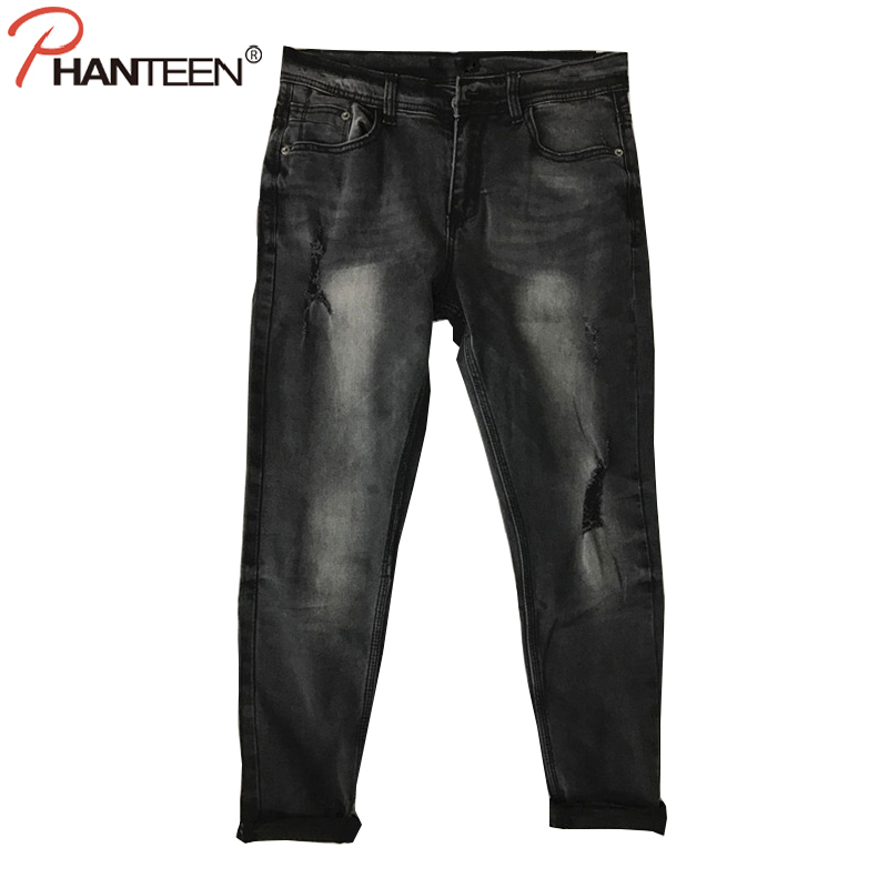 Phanteen Vintage Grey Skinny Fit Man Jeans Ripped Elastic Low Waist Pencil Jeans High Quality Cotton Washed Fashion Men Trousers