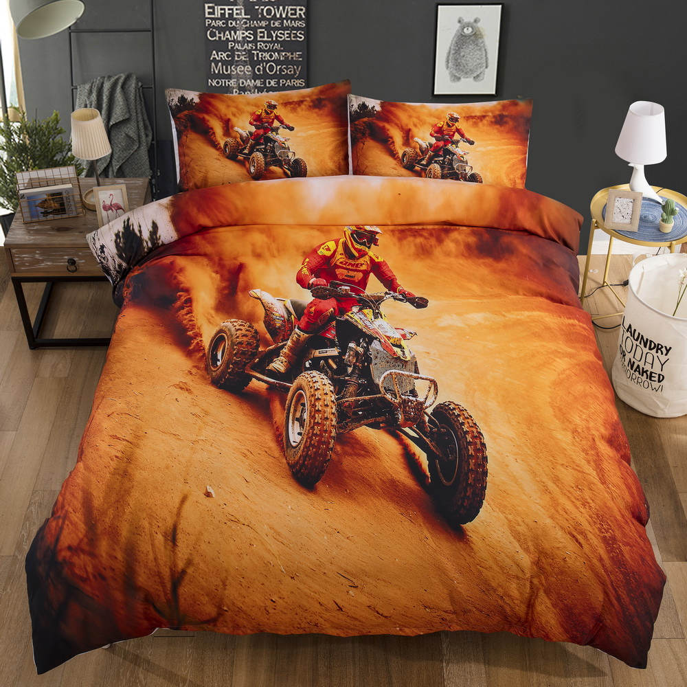 Bonenjoy Yellow 3D Bed Linen Motorcycle Racing Bedding Set King Size 3d Duvet Cover Sets Single Kids Bedding For Children
