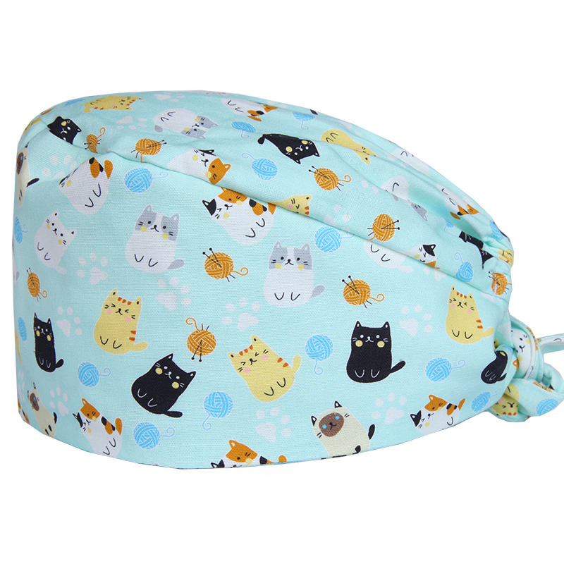 Black Cat Surgical Caps Scrub Nurse Hat Vet Medical Dental Work Hats Sweatbands Medicine Hospital Medical Dentist Cap