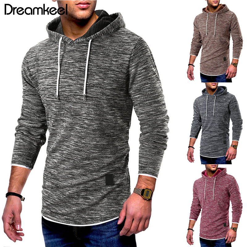 2019 Hooded Drawstring Sweater Men Fashion Solid Up Sweaters Casual Warm Knitting Jumper Sweater Male Coats Plus Size Sweater Y