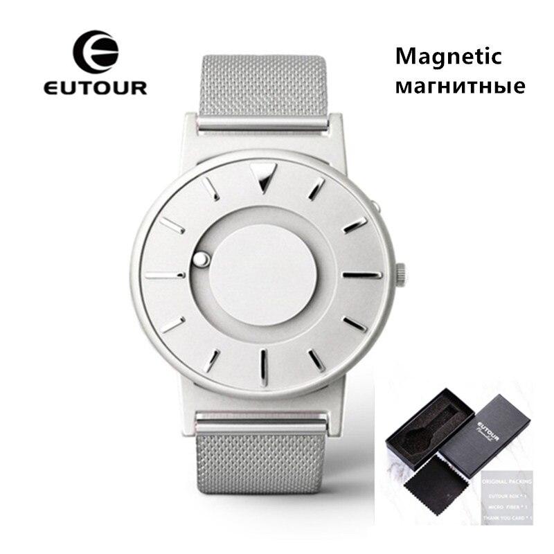 2018 Magnetic Watch Men Brand Luxury EUTOUR Quartz-watch Stainless Steel Strap Watch Unisex Men Women Watches saat erkekler
