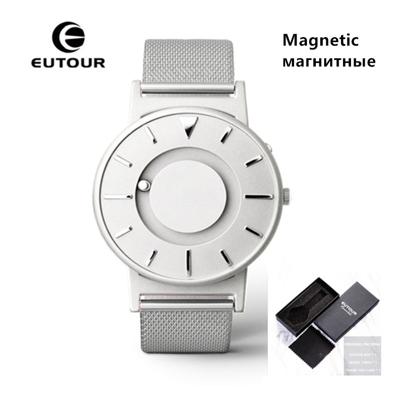 EUTOUR Magnetic Quartz Watch Men Luxury Sports Mens Wristwatches Unisex Watch Stainless Steel Bracelet Watch Waterproof Clock