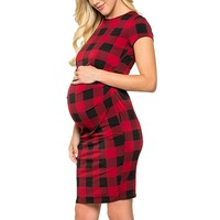 Women's Side Ruched Maternity Clothes Plaid Bodycon Dress Mama Summer Casual Short Sleeve Wrap Dresses Pregnancy New