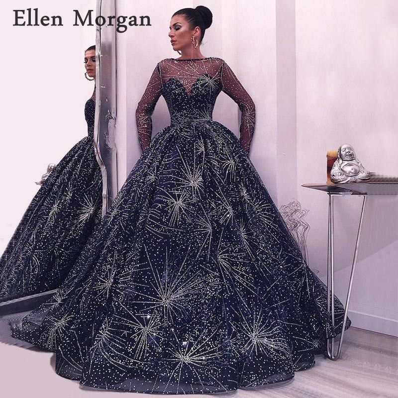 Navy Blue Long Sleeves Ball Gowns   Prom     Dresses   with Glitter 2019 for Women Wear Cover Back Fashion Evening Formal Party Gowns