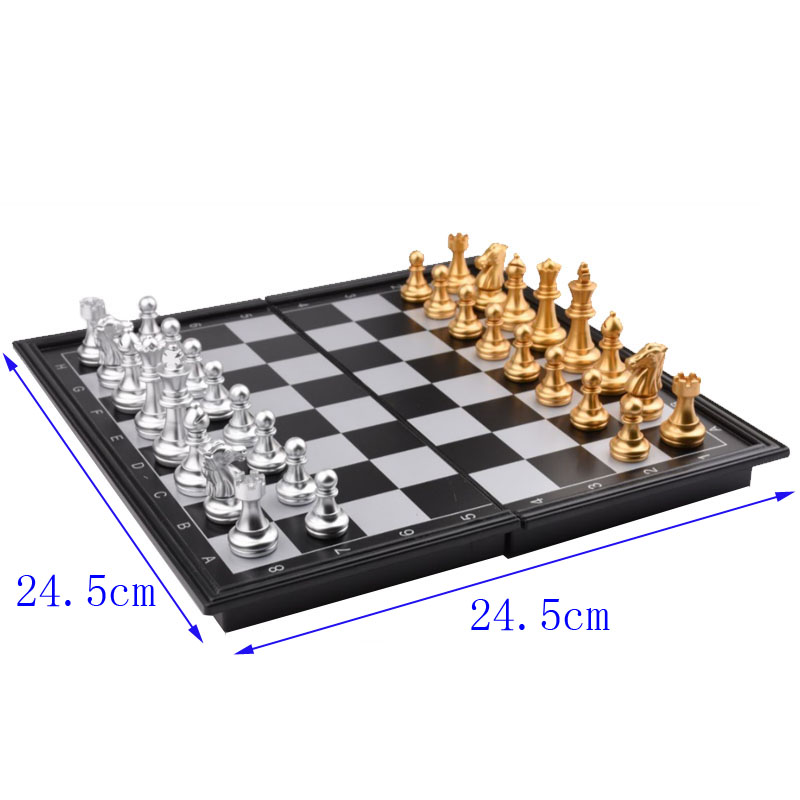 Travel Checkers Magnetic Folding Chess Board Game Chess Pieces Set Adults Kids Plastic Wood Entertainment Gear Child Box Gift