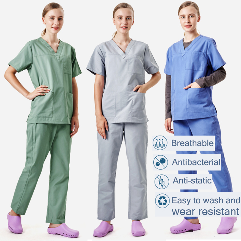 Viaoli Summer Surgical Gown Fashionable V-Neck Breathable Short Sleeve Set Medical Surgery Anti-static Workwear New Promotions
