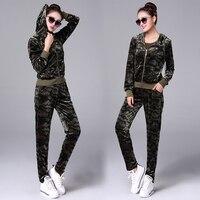 GDOUWYLM Velvet Sporting Suits Women Female Tracksuits 2 Piece Set Camouflage Sportswear 2017 Autumn Winter Women