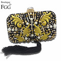 Famous Brand Beaded Rivets Embroidery Tassel Women Black Satin Evening Clutch Bags Ladies Wedding Metal Clutches Handbags Purses