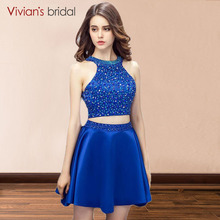 Sequin Crystal Halter Royal Blue Two Piece Short A Line Prom Dress