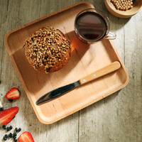 Square Beech Solid Wooden Serving Tray Plate For Home Hotel Storage Tray Wood Tableware For Tea