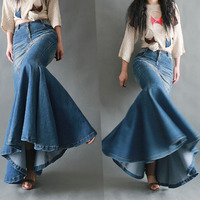 Europe Fashion Retro Curvy Stitching Cowboy Fishtail Skirt Women's Slim Package Hip Long Skirt Blue Jeans Skirts Plus Size
