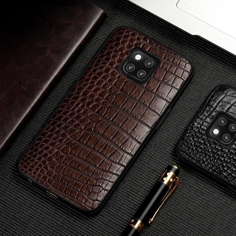 Coque de téléphone en peau de Crocodile en cuir véritable naturel pour huawei mate 20 pro coque souple tout compris pour huawei p20 lite