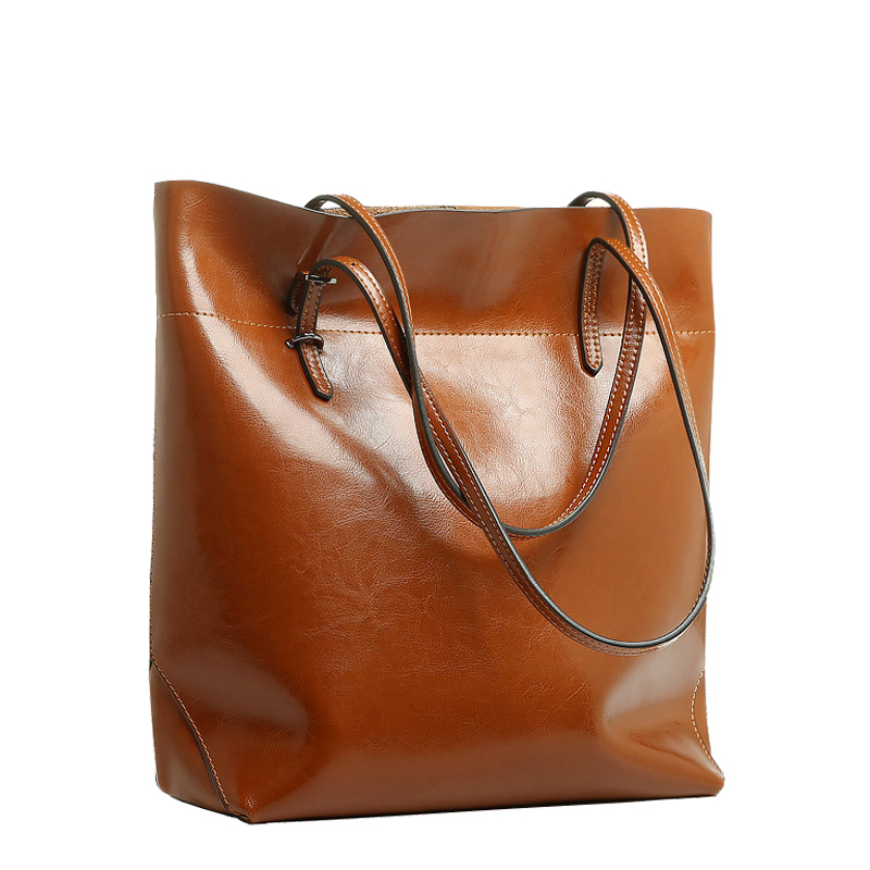 Big Bag Women Handbags Genuine Leather Oil Wax Cowhide Handbags Lady Real Leather shoulder Messenger Bags Generous Fashion Bag fashion leather handbags luxury head layer cowhide leather handbags women shoulder messenger bags bucket bag lady new style