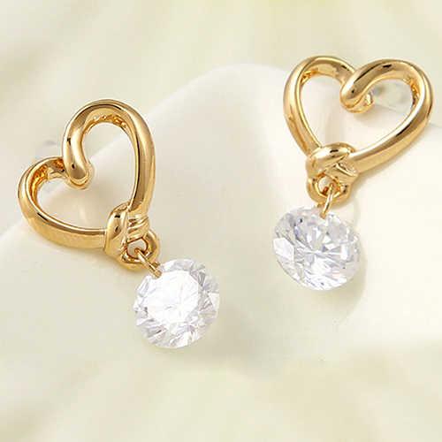 Bluelans wanita Alergi Gratis Jantung Zirkon Telinga Pins Ikatan Simpul Faux Pearl Subang Earrings