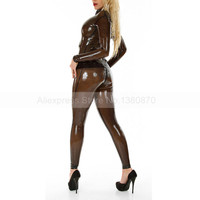 Sexy Latex Catsuit Women Transparent Black Latex Wear Clothing Bodysuit with Front Zip S LC032