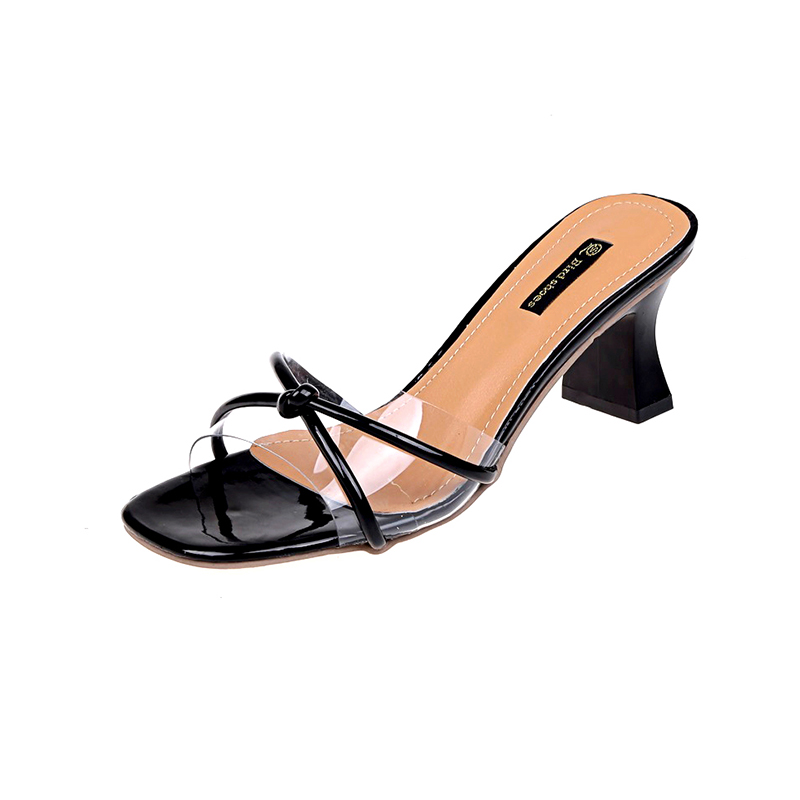 Moxxy transparent thin Heel slipper women shoes sexy black thick bottom open toe high ladies slides open toe summer MULES shoes 2017 summer new women sandals slipper shoes fashion rhinestone thick high heel female slides snadals black plus size shoes xp35
