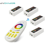DVOLADOR DC12 24V RGB LED Controller + 1pc 2.4G RF Wireless RGBW 4 Zone Touch Remote Controller for 5050 3528 led strip