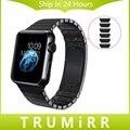 De acero inoxidable correa de mano desmontable para iwatch apple watch 38mm 42mm wrist band enlace correa pulsera con adaptadores de 4 colores