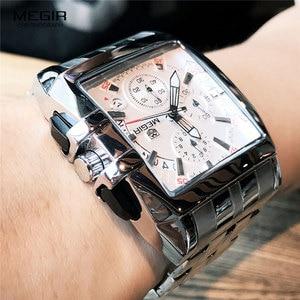 Image 4 - MEGIR ファッションメンズ腕時計トップブランドの高級クォーツ時計男性鋼日付防水スポーツウォッチレロジオ Masculino