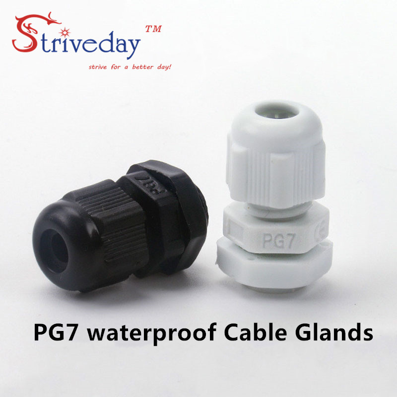 50pcs/lot White Black PG7 Nylon cable gland Wiring Accessories cable connector waterproof connector image