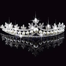 E74 Free Shipping Bridal Princess Rhinestone Pearl Crystal Hair Tiara Wedding Crown Veil Headband