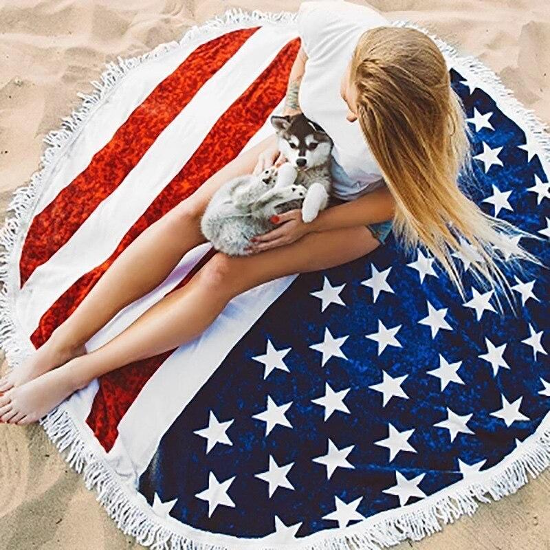 European and American big leaf flower beach bath towel Microfiber round shawl adult beach towel   tassel 150cm picnic blanket