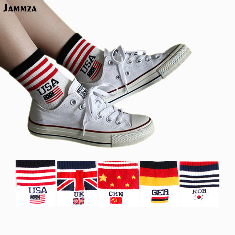 Women Combed Cotton Flag   Socks   USA GER CHN UK KOR Letter   Socks   Harajuku Street Personality Hit Color Stripes Classic White   Socks