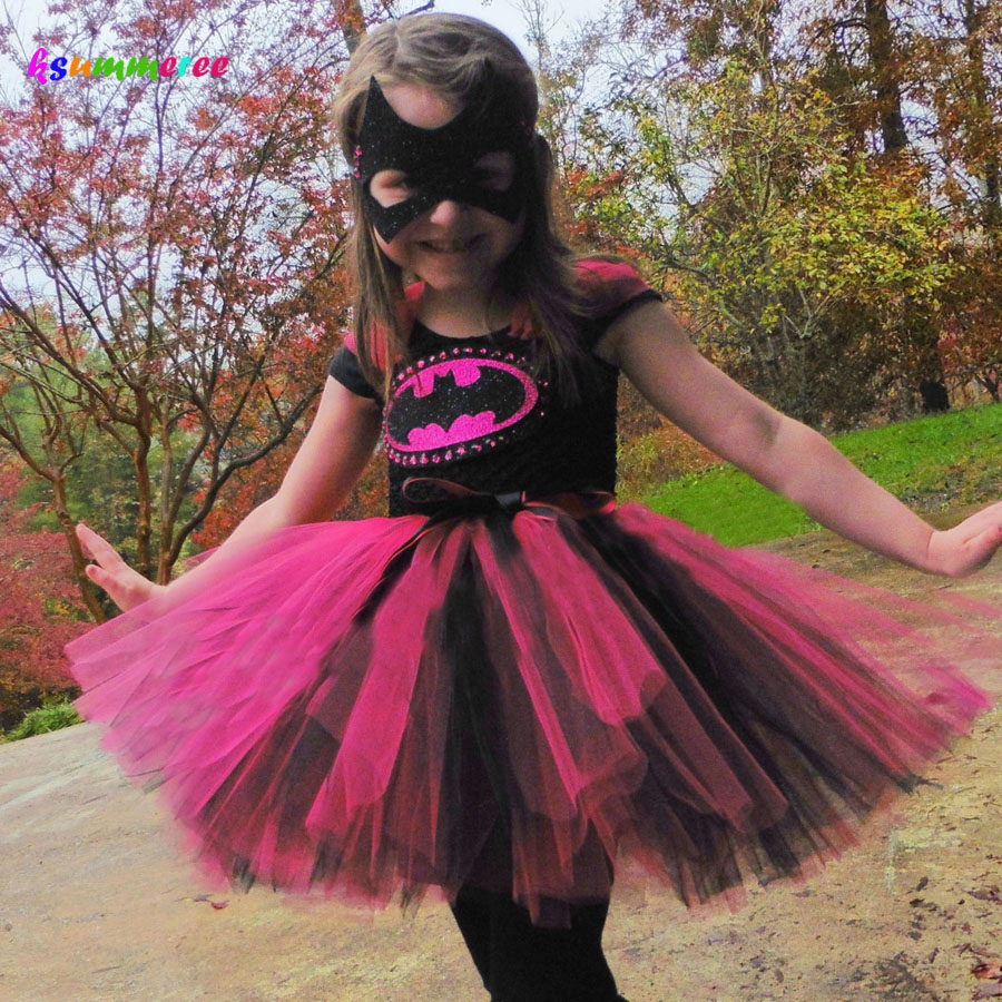 Ksummeree Hot Pink Batman Girls Tutu Dress with Mask Super Hero Batgirl Dress Kids Cosplay Halloween Costume