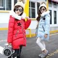 Girls long coat 2017 new  winter children's hand cotton padded Jacket Outwear children's clothing 5-8 year