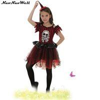 Magic Kleine Heks Halloween Kinderkleding Mooie Fonkelende Meisjes Schedel Prinses Jurk Een Stuk Jurk met Heksenhoed